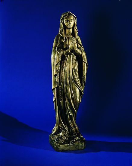"""Madonna Lourdes (8.5"""") Bronze memorial"""
